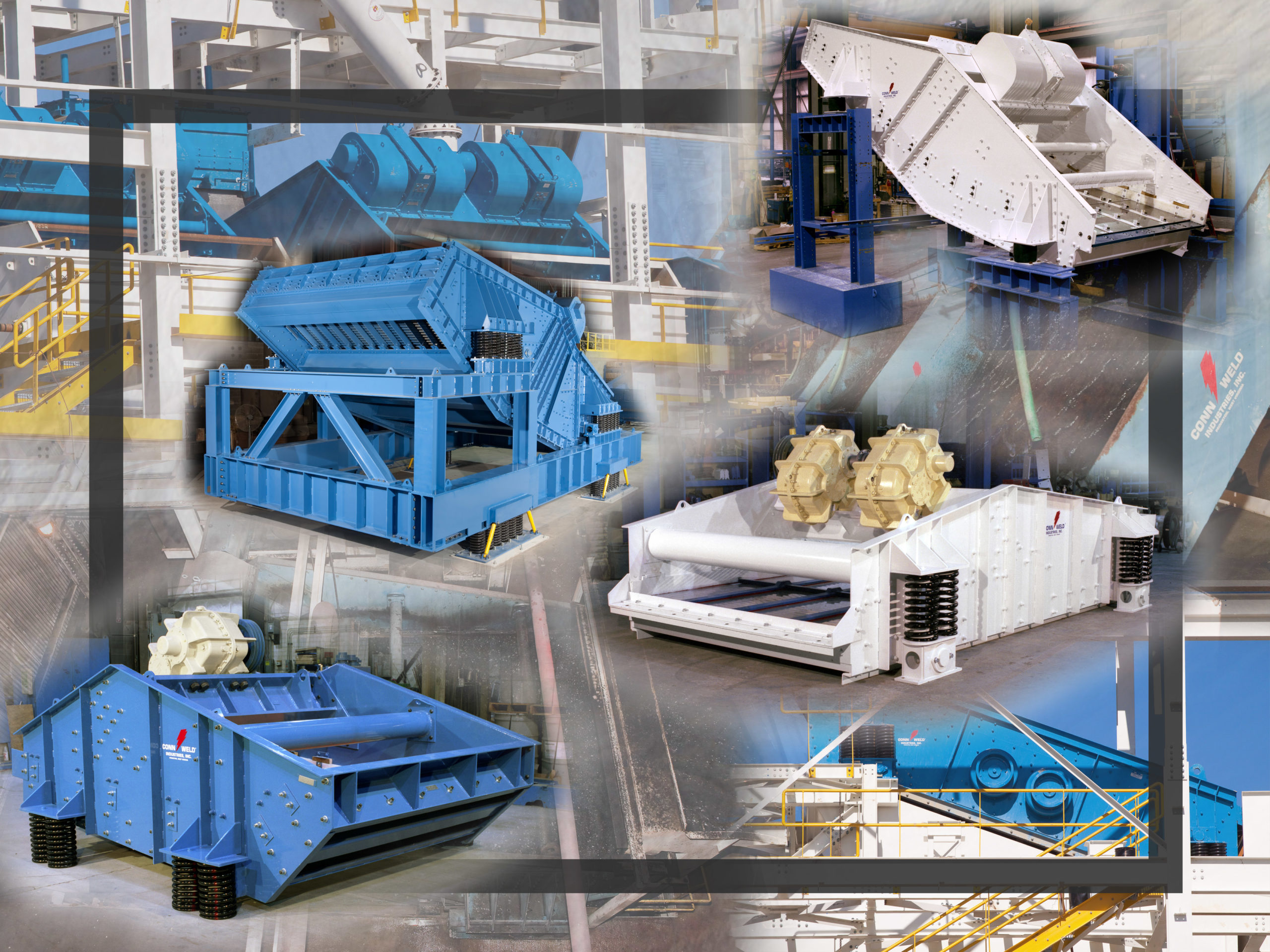 A collage of vibrating screen equipment
